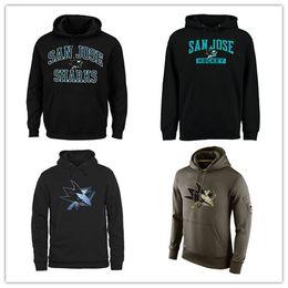 San jose haifisch sweatshirts online-Das Sweatshirt-Gruß der San Jose Sharks-Männer, zum der Nebenerwerbs-Therma-Leistung des Pullover-Hoodie-schwarzen olivgrünen Hockey-Jerseys zu warten Freies Verschiffen