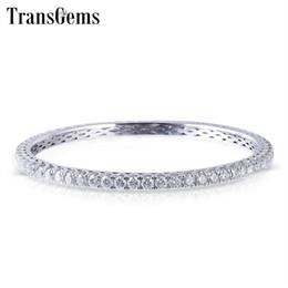 Braccialetto bianco dell'oro delle signore online-Transgems Solid 10k White Gold 6ctw 3mm Gh di colore Moissanite Bangle per le donne Wedding 1 Pz Size 17 Ladies Bangle regalo di nozze Y19032201