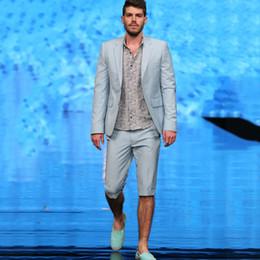 2019 синий пляжный пиджак Светло-голубые мужские свадебные смокинги Slim Fit Beach Groom Wear Suit Лучший дизайнерский пиджак для мужчин Блейзер Выпускной вечер (куртка + брюки) дешево синий пляжный пиджак