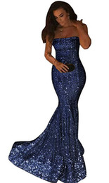 abito in argento blu Sconti Bling con paillettes senza spalline Prom Dresses with Zipper Back 2019 Long Evening Gowns Party Dress Blu navy Oro argento