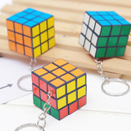 Cubo mini-piccolo 3cm ciondolo puzzle portachiavi gioco magico cubo portachiavi ragazzo ragazza regalo catena giocattolo all'ingrosso da braccialetti di plastica del partito fornitori