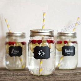 tarros de cristal Rebajas Cadena de la taza Envío gratis 24 piezas de lujo Mason Jar boda etiquetas de pizarra, copa de vino bebida Copa etiqueta bricolaje recepción decoración idea