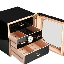 Cajonera negra online-En stock Luxury COHIBA Black Cigarette Box Cabinet Cedar Cigarette Piano Hornear Humidor 3 Cajones con higrómetro humidificador