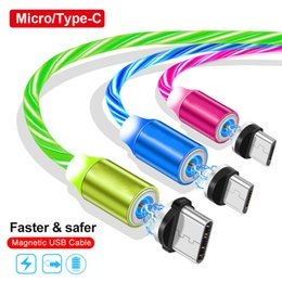 fluindo cabo usb Desconto Tipo magnético c cabo micro usb cabo rápido carregador de fluxo de luz led rápido cabos de carregamento para samsung s8 s9 s10 nota 9 10 htc android phone