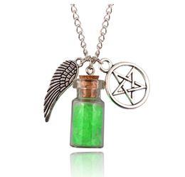 Gafas de pentagrama online-Vintage Silver Angel Wing Pentagram Glass Wishing Bottle Collar Colgante Collar de cadena de protección sobrenatural para mujeres Joyas 7 estilos