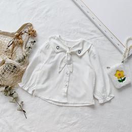 camisas brancas do projeto para meninas Desconto Camisa da menina caçoa a roupa do animal de estimação Pan Collar com projeto do coração Branco Lolita camisa de manga comprida menina macia shirt 100% algodão
