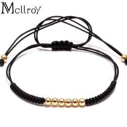 projetos do bracelete do macrame Desconto Mcllroy Designs Homens trança Macrame Bracelet quatro contas de aço inoxidável Beads Corda Braceletes Feminino pulseira masculina