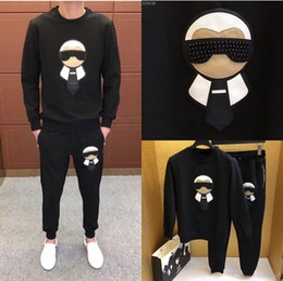 2019 New Moda Masculina Imprimir algodão manga comprida Pullover Jogger Ternos Calças Jacket Define Mens Designer Treino Suit Sport Plus Size M-4XL de Fornecedores de ciclismo roupa amarelo tour