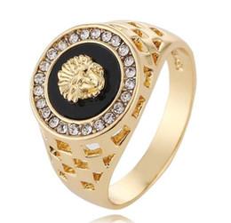 2019 leão de ouro dos homens Cluster Anéis Novos Designer de Luxo Anéis 24 k Cabeça de Leão de Ouro Mens Anéis Abertura Pode Ajustar Mens Jóias Anel desconto leão de ouro dos homens