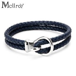 Pulseiras mens coloridos on-line-Mcllroy pulseiras de couro pulseiras de couro artesanal colorido botão de aço inoxidável mens pulseiras 2017 pulseira charme pulseira