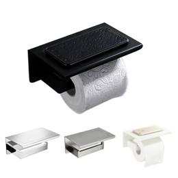 Cromo chapeamento de escova on-line-Suporte de papel higiênico de acessórios de hardware de banheiro Matt preto branco escovado espelho cromado Soild Metal papel Rack