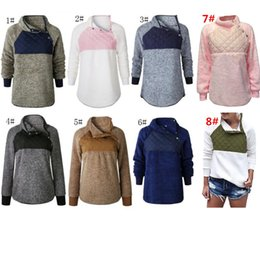 Hoodies oblique on-line-Mulheres Sherpa Pullover Hoodies Casual velo Patchwork camisola Oblique Botão Collar Hoodie Inverno Outwear Jacket S-3XL 8 Cor C92706