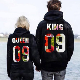 Толстовки с капюшоном онлайн-Lovers Hooded Hoodies QUEEN KING 09 Letter Floral Print Mens Womens Sweatshirts Couples Hooded Tops Casual Pullover Hoodies