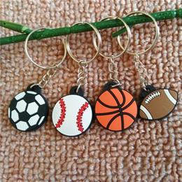 Pendenti di colla online-Basketball Keychains pvc Soft glue Rugby Ball football keychain Bag Pendant Sports Keychain Car Key Chain Key Ring LJJK1922
