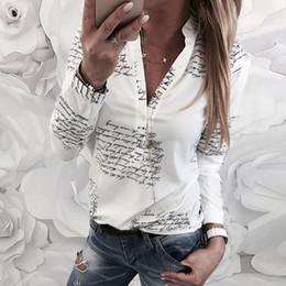 Camicette semplici online-Lettere semplici da donna Camicie bianche Camicette Camicette Donna Casual Maniche lunghe Scollo a V Camicette Camicette Top Femme 2019 @ 30