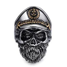 l'anello di marina anchor Sconti Anello da uomo IKAXON Fashion Gothic Old Man Skull Captain Anchor Navy acciaio inossidabile 316L regalo per amico