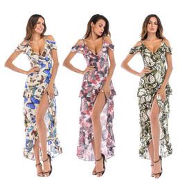 Canada Femmes FLoral Imprimer Profond V-cou Robes Élégant Sexy Printemps Maxi Robes Pour Femmes Européen Et Américain Irrégulière Strap Filles De Pâques Robe Offre