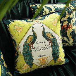 2020 cojines de pavo real Funda de cojín de almohada a cuadros geométricos Chic Green Peacock Throw Cojines decorativos Cojines Decorativos Para Sofa Coussin Cojines rebajas cojines de pavo real