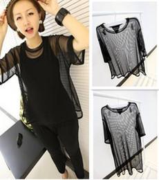 blouse pure en gros Promotion Gros-Womens Voir à travers Sheer Mesh T-shirt à manches courtes Oversize Tops BLACK épaule large perspective blouse