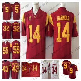 f72f8585d0e Vintage USC Trojans #14 Sam Darnold 43 Troy Polamalu 32 OJ Simpson 55  Junior Seau 5 Reggie Bush JuJu Smith-Schuster Red White Jersey