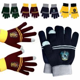 wolle touch handschuhe Rabatt Harry Potter Touchscreen Handschuhe Gryffindor Slytherin Strickhandschuh Abzeichen College Wolle Winter Warmhalten Elastizität Handschuhe LJJA2820