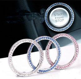 Anelli di diamanti online-Diamante Auto Avvio Anello motore Pulsante Anelli di cristallo Emblema Adesivo Auto Avvio un pulsante Anello imitazione diamante Decorazioni Anello Chiave GGA2445