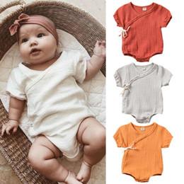 Algodão orgânico roupas recém-nascido on-line-Algodão Orgânico Bebê Recém-nascido Meninas Infantis Romper Macacão Outfits Roupas