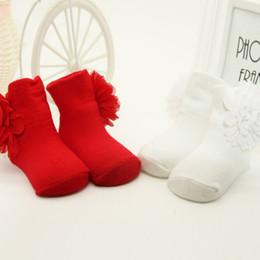 Calzini di fiori bambina online-Kids Girls Cosy Cotton Socks Fiori Anti Slip Ankle Socks Baby Shoes Boot Nuovo