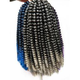 cabelos grisalhos encaracolados Desconto Lindo Cabelo 8 polegadas Tranças De Crochê Primavera Torções Kanekalon Extensões de Cabelo Trança Sintética Kinky Curly Torção Cinza Azul Ombre