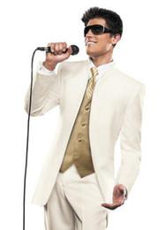 2019 le smoking le plus chaud New Big Discount !! Vente chaude crème Beau Groomman Epoux Tuxedo (veste + pantalon + cravate + gilet) 783 promotion le smoking le plus chaud