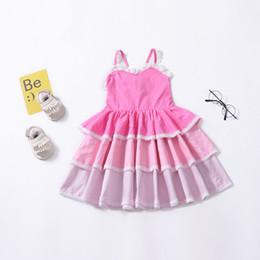 d802bd404 Linda princesa vestido para o bebê menina sem mangas rendas vestido de bolo  de verão crianças roupas rosa roxo atacado barato rosa bebê vestido feminino  ...