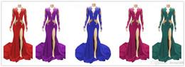 Vestidos de fiesta de sirena sexy de color rojo oscuro 2019 V Cuello mangas largas Con lentejuelas con cuentas Vestidos para ocasiones especiales Vestidos de noche formales Vestidos desde fabricantes