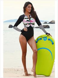 Costumes de méduses en Ligne-Maillot de bain maillot de bain à manches longues imprimé de méduses costume de plongée en apnée à séchage rapide triangle noir maillot de bain siamois