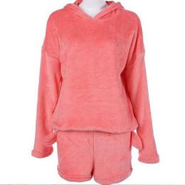 Moda donna carino gatto manica lunga calda felpa con cappuccio top pantaloncini pigiameria pigiama set di abbigliamento caldo in pile corallo da