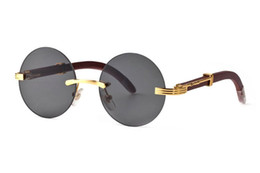 7fbd11642fe optical sport frames NZ - Round Circle Rimless Sunglasses Optical Frame  Wooden Eyeglasses Vintage Buffalo Horn