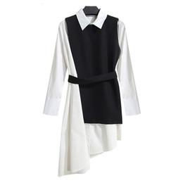 2019 colete longo coreano da luva Shirt sem mangas White Dress Womens Suit Two Piece Set Long Sleeve Lace Up Preto assimétricas Vest fêmea Roupa coreana desconto colete longo coreano da luva