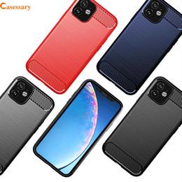textura iphone tpu Desconto Caso de telefone de textura escovada de fibra de carbono para iPhone 11 Pro Max XR XS MAX LG Stylo 5 Samsung A20 A50 Note 10 Plus