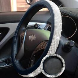volantes vw passat Rebajas 38cm 15 pulgadas de cristal de masaje cubierta del volante para las mujeres de seda del hielo del Rhinestone decoración interior del coche coche suministros