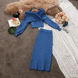 2019 миди платья для свитеров Новый дизайн женский сексуальный v-образным вырезом с длинным рукавом с завышенной талией трикотажный свитер и эластичная талия миди длинная юбка твинсет с люрексом платье костюм дешево миди платья для свитеров