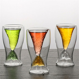 100ml kreative Kristall Mermaid Schwanz Cup transparente Glas Fish Tail Practical Kreative Wein Cup Hitzebeständige Glass Bar Cups von Fabrikanten