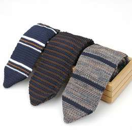 free knit patterns Coupons - Mens Casual Stripe Patterned Knit Neck Tie Upscale Men Accessories