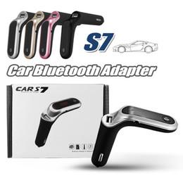 Unidad de radio online-Transmisor FM S7 Bluetooth Car Kit Manos libres Adaptador de radio FM LED Coche Bluetooth Adaptador Soporte Tarjeta TF Unidad USB Flash Entrada / salida AUX