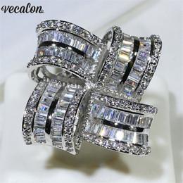 2019 anillos de promesa de lujo Vecalon Luxury Big Flower Promise anillo de plata de ley 925 anillos de boda de compromiso para las mujeres de los hombres joyería del dedo anillos de promesa de lujo baratos