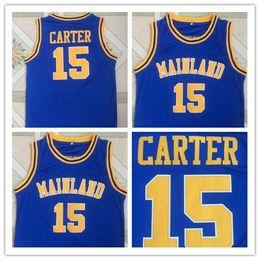 Uniformes escolares on-line-NCAA Mainland 15 Vince Carter High School Blue Basketball Jersey Faculdade costurado Jerseys desgaste uniforme de alta qualidade