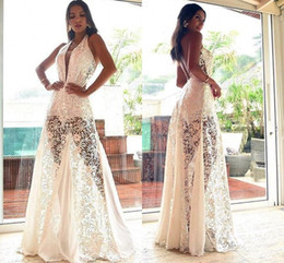vestidos de noche de marfil baratos Rebajas 2020 Ivory A-line Hollow Vestido de fiesta Barato con cuello en V largo Prom vestidos de noche formal Club Wear LFF2124
