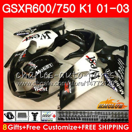 kit gsxr k1 Desconto 8Gifts Corpo Para SUZUKI GSXR 600 750 Preto oeste quente GSXR600 2001 2002 2003 4HC.41 GSX R750 GSXR-600 GSX-R750 K1 GSXR750 01 02 03 Kit de carenagem