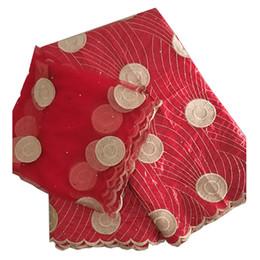 2019 tissus de gele bazin riche getzner africain bricolage matériaux broderie guinée africaine tissu de brocart nigérian gele headtie 5 + 2 yards / lot mariage promotion tissus de gele