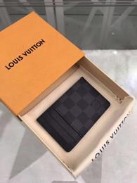 Melhor bolsa de homem on-line-Melhor qualidade clássico lona palavras homens carteira com caixa de couro genuíno das mulheres carteira quadrada bolsa de couro real tamanho M61722 11 .. 7 cm