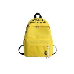 Sacos com marca japonesa on-line-Mochila amarela marca de alta qualidade à prova de água nylon lazer ou viagem saco sólido estilo japonês pacote com caracteres chineses