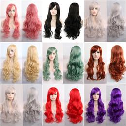 parrucche ricci di capelli umili ombre bang Sconti Parrucca lunga ondulata di 80 centimetri Parrucca 9 colori Fibra ad alta temperatura Capelli sintetici Rosa Parrucche nere per le donne